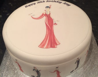 Art Deco 1920's Lady edible Icing, Frosting, Fondant cake topper, cupcake toppers &/Or edible ribbon for Birthday Cake