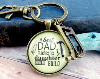 The Best Dad Teaches His Daughter How to Build Keychain For Dad From Daughter Gift Father's Day Tool Charms Gift for Dad Contractor, Hammer