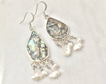 Abalone and Fresh Water Pearl Earrings