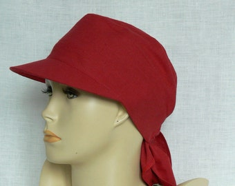Linen cap, summer cap, women's cap, raspberry red linen cap