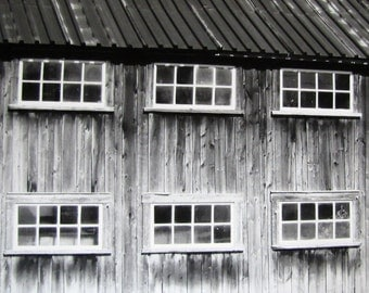 Black and White Mural, Old Barn Photography, Close up photography, art photo print, old windows photography, wall home decor 12 x 12