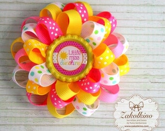 LIttle Miss Sunshine hair bow - Summer bow - Loopy bow - Flower hair bow - Layered bow - Pink Yellow hair bow - Toddler Baby hair clips
