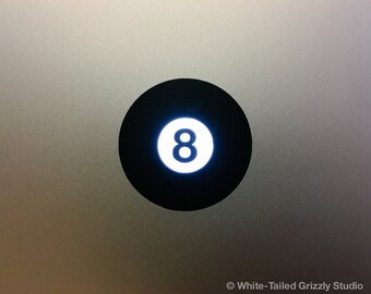 8-BALL MACBOOK DECAL - Macbook Apple decal - Macbook Apple light cover - Mac Decal - Apple Laptop Decal - Pool decal - Billiards Decal