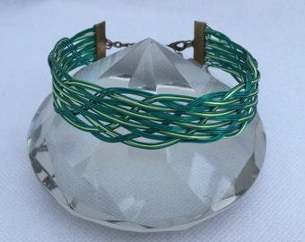 Natures greens woven wirework bracelet