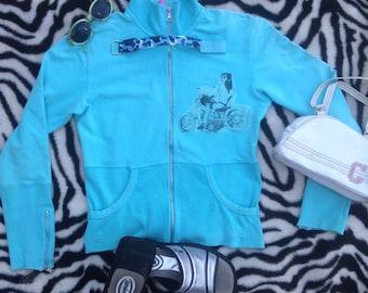 handprinted blue BIKER CHICK candy jacket