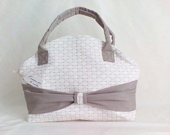 Cream cotton damask vintage bag-taupe