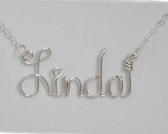 Linda Wire Word Name Pendant Necklace, SALE!