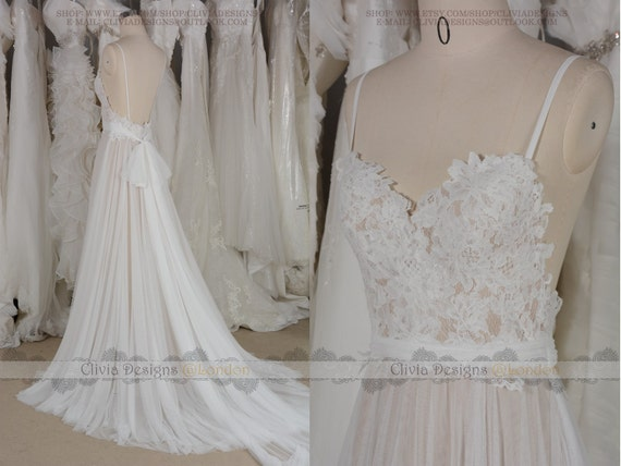 CliviaDesigns - Boho Bohemian Backless Lace Tulle Wedding Dress ...