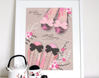 Friendship print, with shoes and cherry blossoms, friend quote, friendship saying, friend present, friend gift, friend poster, friend saying