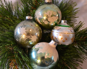 Made In The USA Glass Teal Flocked Stenciled Mixed Ornament Set