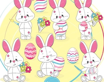 80% OFF SALE Easter bunny clipart, Easter clipart, Easter clip art, cute Easter clipart - CA378
