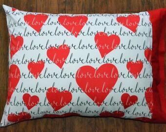 Cotton pillowcase, Valentines pillowcase.