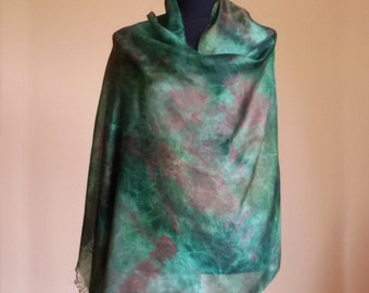 brown green hand-painted silk scarf,  shibori silk scarves, original scarves.