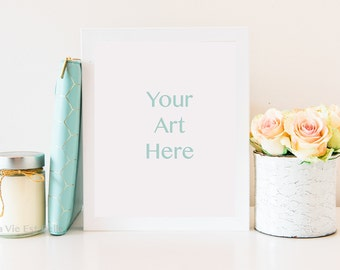"""Styled Stock Photography - White Frame Product Mockup with Peach and Cream Roses & Mint styling - Frame fits 8*10"""" Dimensions - White Desk"""