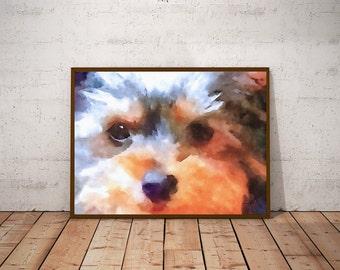 Yorkshire Terrier Watercolor Dog Print - Yorkie Wall Art Dog Print - Yorkie Portrait Yorkie Poster Art Terrier Print