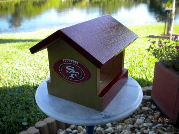 san francisco 49ers wood bird feeder nfl football hand