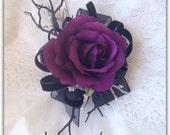 Wrist corsage,gothic, purple and black, prom, wedding, silk corsage.