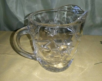 EAPG Anchor Hocking Star Of David Clear Glass Creamer - Grandes Treasures