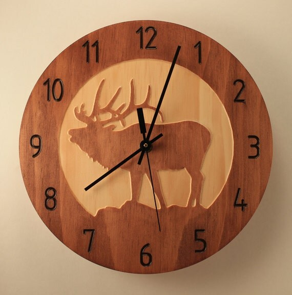 Pine Elk Clock Deer Clock Wood Clock Nature Clock Wall Clock