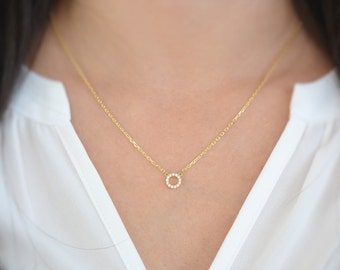 Eternity necklace. Sterling silver eternity circle necklace. Eternity gold necklace. Circle necklace. Fine silver jewelry. Circle necklaces.