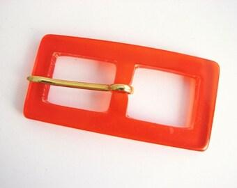 Transparent red belt buckle, Plastic buckles for slim belts, unused!