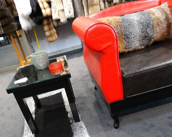 Warm fur rug, Black astrakhan rug F107