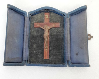antique french religious tryptich, vintage travel crucifix , personal shrine