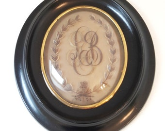 antique french mourning hair art frame, victorian oval and convex funerary frame