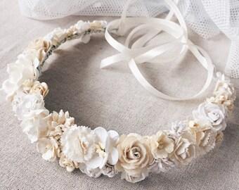 Ivory Flower crown, Bridal floral crown, bridal flower crown, ivory flower crown,wedding flower crown,woodland wedding