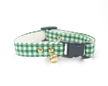 "Cat Collar ""Green Gingham"" handmade breakaway collar"
