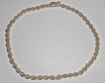 Beautiful thick vintage braided twisted sterling silver wire choker necklace with unusual closure