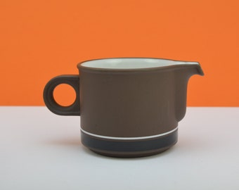 Hornsea 'Contrast' stoneware milk jug, brown with black and white detail, from the 1970s