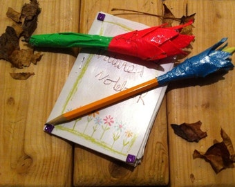Watercolor nature notebook w/ flower pens and pencils.