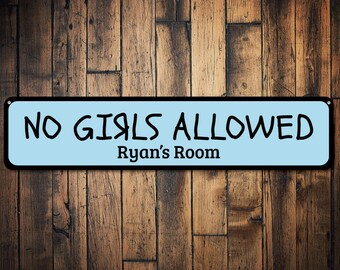 No Girls Allowed Sign, Personalized Boy Name Room Sign, Custom Boys Only Bedroom Decor, Metal Playroom Decor - Quality Aluminum ENS1002077