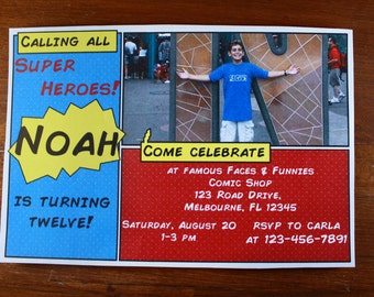 Super Hero Birthday Party Invitation-Digital