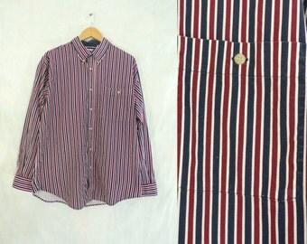 40%offAug15-17 mesn striped shirt size medium, bugle boy, burgundy red, navy blue, mens button down shirt, cotton, dress shirt, 80s 1980s