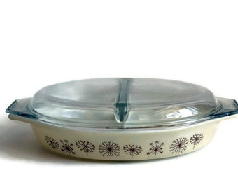 Retro PYREX DUET Dandelion Casserole Dish with Lid, Promotional 1959 Divided Bowl,