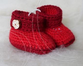 Baby booties, booties knitted crochet wool.