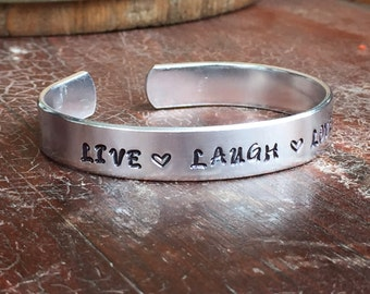 """Live Laugh Love with Hearts - Smooth Organic Texture Cuff Bracelet Personalized Custom Jewelry Hand Stamped 1/2"""" Aluminum"""