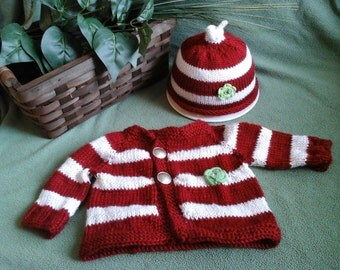 Candy cane sweater and hat set