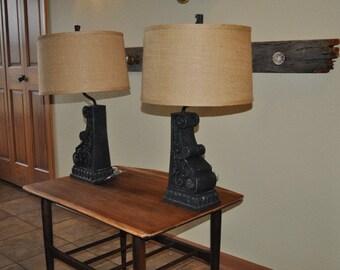 SOLD,Lamp Set,Table Lamp,Hand Painted Lamp,Annie Sloan,Chalk Paint,Chalk Painted Lamp,Burlap,Blue Black,Lamp Shades,Burlap Lamp Shade