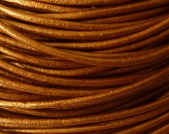 40 meters metallic copper leather cord 2 mm PR0850