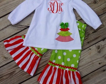 Girl's Red and Green Christmas Applique Peasant Top with Ruffled Pants Set