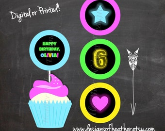 Glow in the Dark Digital Birthday Circles- Cupcake Toppers, Stickers, Tags
