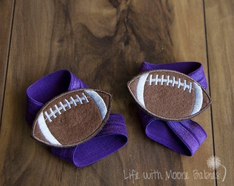 Baby Barefoot Sandal Football Patches, Football Interchangeable Barefoot Baby Sandal, Interchangeable Baby Shoe, Purple Elastic Baby Shoe
