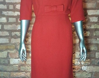 VTG 50s Red Wool Wiggle Pencil Dress