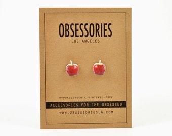 Red Candy Apple Earrings Apple Stud Earring Post Earring Apple Jewelry Apple Accessories Fruit Miniature Food Kitsch Kitschy Apple Gift Idea