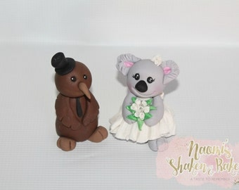 1x Edible Bride and Groom Set Koala and kiwi Bird Cake Toppers 6-8cm