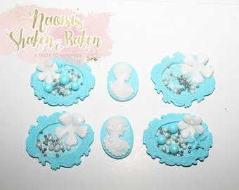 12x Edible Vintage Shabby Chic Fondant Cupcake Toppers