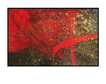 Original red abstract art space painting cosmic series gold black silver Corona by Robert McConvey